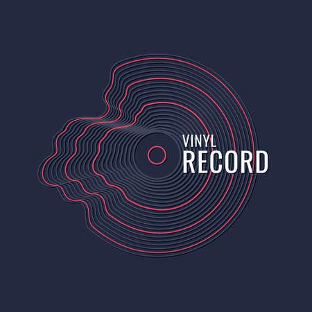 Poster of the Vinyl record. Vector illustration music on dark background. Vettoriali