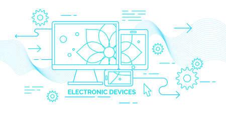 Modern flat illustration electronic devices. Vector banner. Illustration