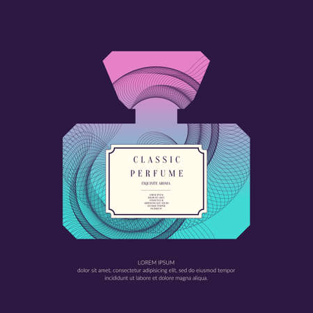 Perfume bottle with dynamic lines and waves. Bright modern poster for advertising and sale Fragrance. Vector banner. Illustration