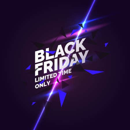 Banner del venerdì nero. Poster originale per lo sconto. Forme geometriche e luce al neon su uno sfondo scuro. Illustrazione vettoriale. Vettoriali