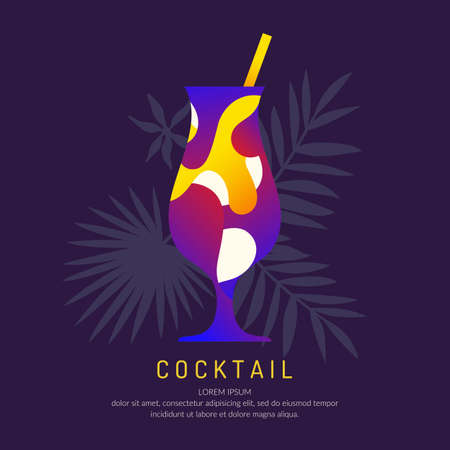 Illustration for bar menu alcoholic cocktail. Vector drawing of a Drink on a dark background.