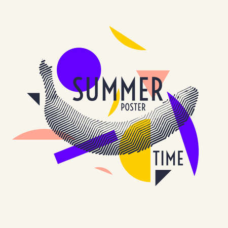 Summer time stylish poster, trendy graphics.