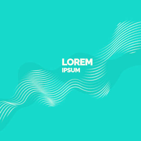 Vector abstract background with a colored dynamic waves, line and particles. Vector Illustration