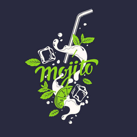 Modern hand drawn lettering label for alcohol cocktail Mojito. Handwritten inscriptions for layout and template. Vector illustration 일러스트