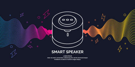 Smart speaker for the control and management of the house. Vector line illustration on a dark background.