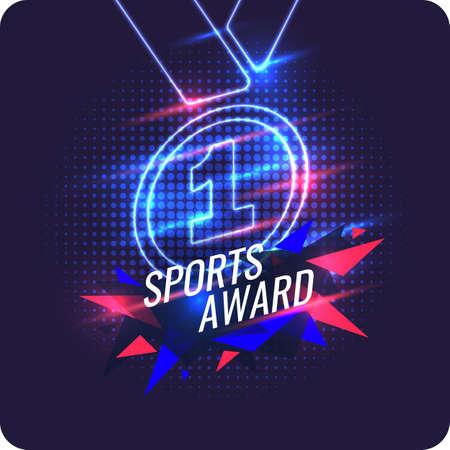 Medalla de campeones de neón. Trofeo deportivo, premio al ganador. Ilustración de vector.