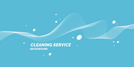 Conceptual poster for cleaning service on a blue background. Vector illustration.