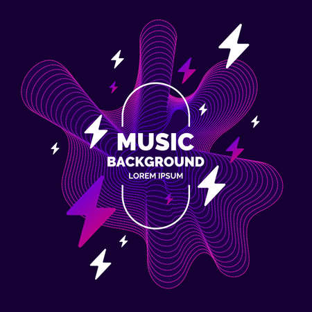 Music poster. Vector abstract background with dynamic waves, line and particles. Illustration suitable for design