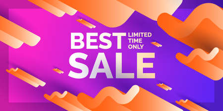 Best sale, modern abstract background. Banner with waves of different sizes and with three-dimensional geometric shapes, Vector illustration.