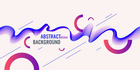 Bright abstract background with a dynamic waves of minimalist style. Vector illustration for website design Vector Illustration