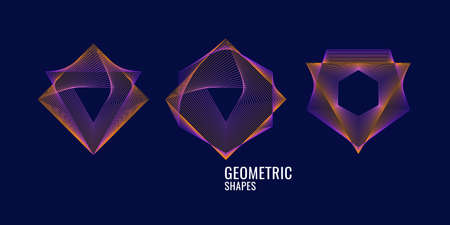 Elegant abstract forms with colorful lines on a dark background. Vector illustration