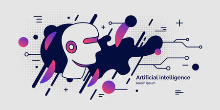 Artifical intelligence, conceptual poster. The analytical system. Vector illustration