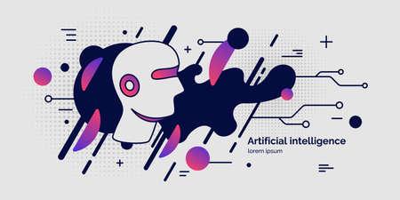 Inteligencia artificial, cartel conceptual. El sistema analítico. Ilustración vectorial Ilustración de vector