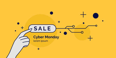 Cyber Monday. Linear minimalistic illustration for sale on yellow background. Vector graphics.