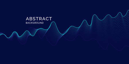 Vector abstract background with dynamic waves, line and particles. Illustration suitable for design 矢量图像