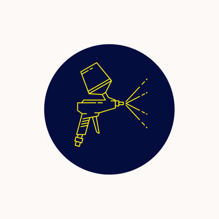 Spray gun for painting cars. Tool line icon. Vector illustration  イラスト・ベクター素材