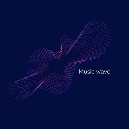 Vector abstract background with dynamic music waves, line and particles. Illustration suitable for design Illustration