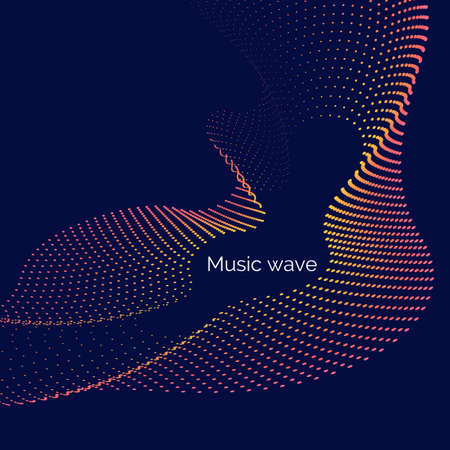 Vector abstract background with dynamic music waves, line and particles. Illustration suitable for design 向量圖像
