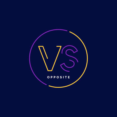 Bright poster symbols of confrontation VS, can be the same logo. Vector illustration on a background with a trendy minimalist style. Illustration