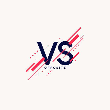 Bright poster symbols of confrontation VS. Vector illustration on a background with a trendy minimalist style.
