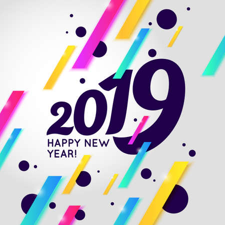 Vector illustration of a Happy New Year poster 2019. Vector illustration