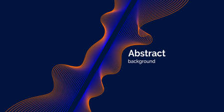 Bright poster with dynamic waves. Vector illustration in minimal flat style Иллюстрация
