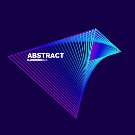 Elegant abstract poster with colorful lines on a dark background. Vector illustration Illustration