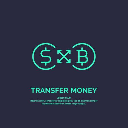 Modern money transfer icon and emblem. Vector illustration
