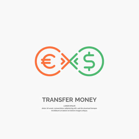 Modern money transfer icon and emblem. Vector illustration