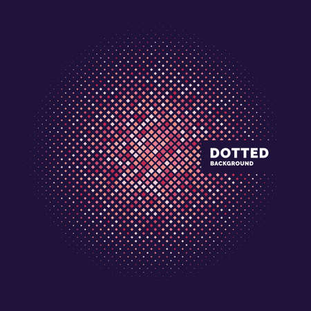 Dotted background, template for design. Geometric objects of different colors and sizes. Vector illustration
