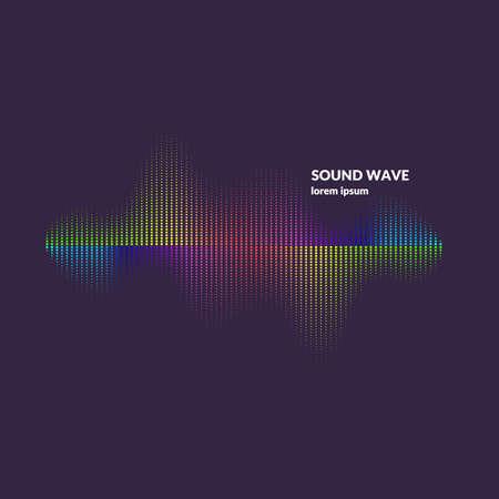 Equalizzatore dell'onda sonora. Illustrazione vettoriale moderna su sfondo scuro Vettoriali