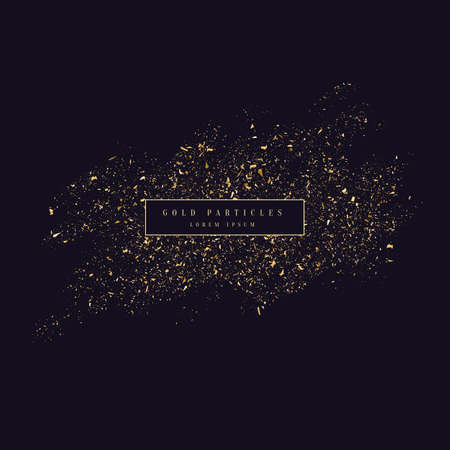 Gold glitter. Shiny particles on a dark background. Vector illustration
