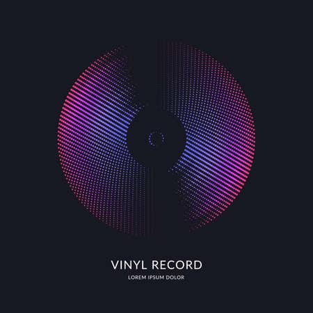 Schallplatte. Vektorillustrationsmusik auf dunklem Hintergrund.