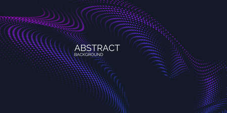 Vector abstract background with dynamic waves, line and particles. Illustration suitable for design Иллюстрация