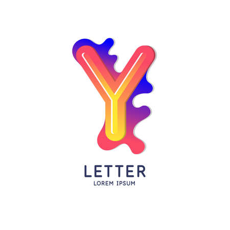 The letter Y of the Latin alphabet. Display character in a bright contemporary style. Vector illustration