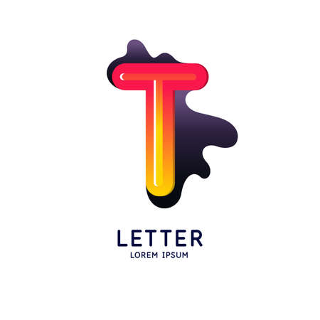 The letter T of the Latin alphabet. Display character in a bright contemporary style. Vector illustration