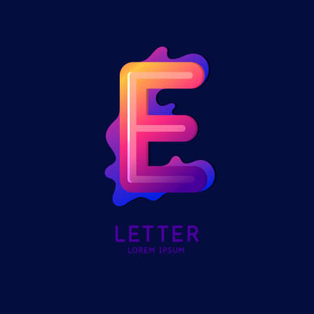 The letter E of the Latin alphabet. Display character in a bright contemporary style. Vector illustration