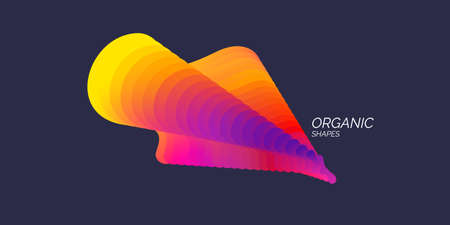 Bright abstract object with dynamic waves. Vector illustration in minimal style