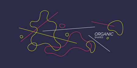 Trendy abstract background. Composition of amorphous forms and lines.  イラスト・ベクター素材