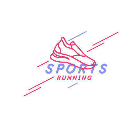 Modern emblem with the inscription sports running and images of sneaker. Vector illustration for an athletic club  イラスト・ベクター素材