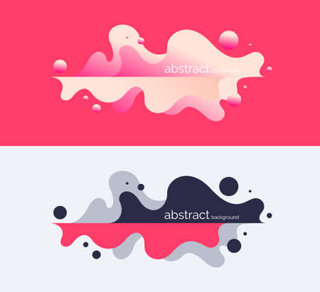 Bright poster with dynamic waves. Vector illustration in minimal flat style 일러스트