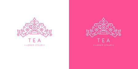 The original linear image of the crown. Isolated vector emblem. Illustration in simple flat style. Sign for tea company.