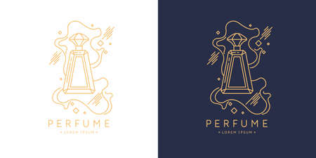 Bottle of perfume. Vector illustration. Linear image perfume to monogram. Vettoriali