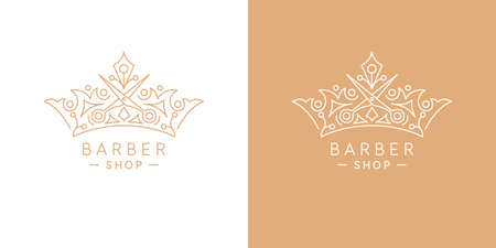 The original linear image of the crown. Isolated vector emblem. Illustration in simple flat style. Sign for barber shop.