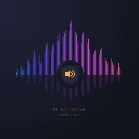 Sound wave equalizer. Modern vector illustration on dark background Ilustração