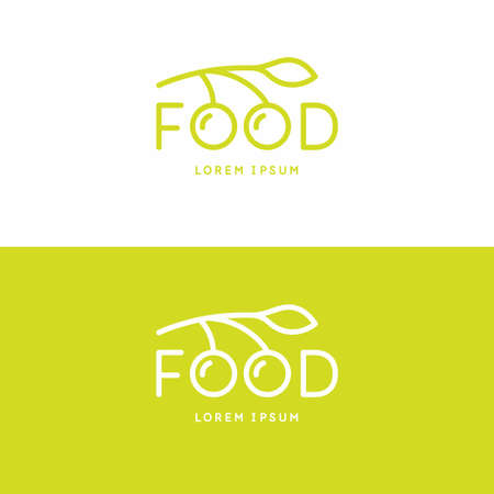 The inscription food. Modern sign and emblem for design and advertising