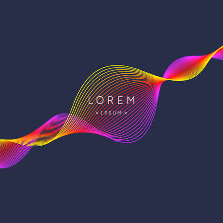 Abstract element with dynamic linear waves. Vector illustration in flat minimalistic style