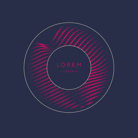 Abstract element with dynamic lines and particles. Vector illustration in flat minimalistic style