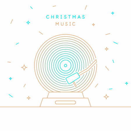 Christmas banner. Poster of the Vinyl record. Vector illustration music on white background.  イラスト・ベクター素材
