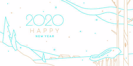 Background with the inscription 2020 Happy New Year. Vector illustration in flat simple style with gold and blue lines. Reklamní fotografie - 131399973